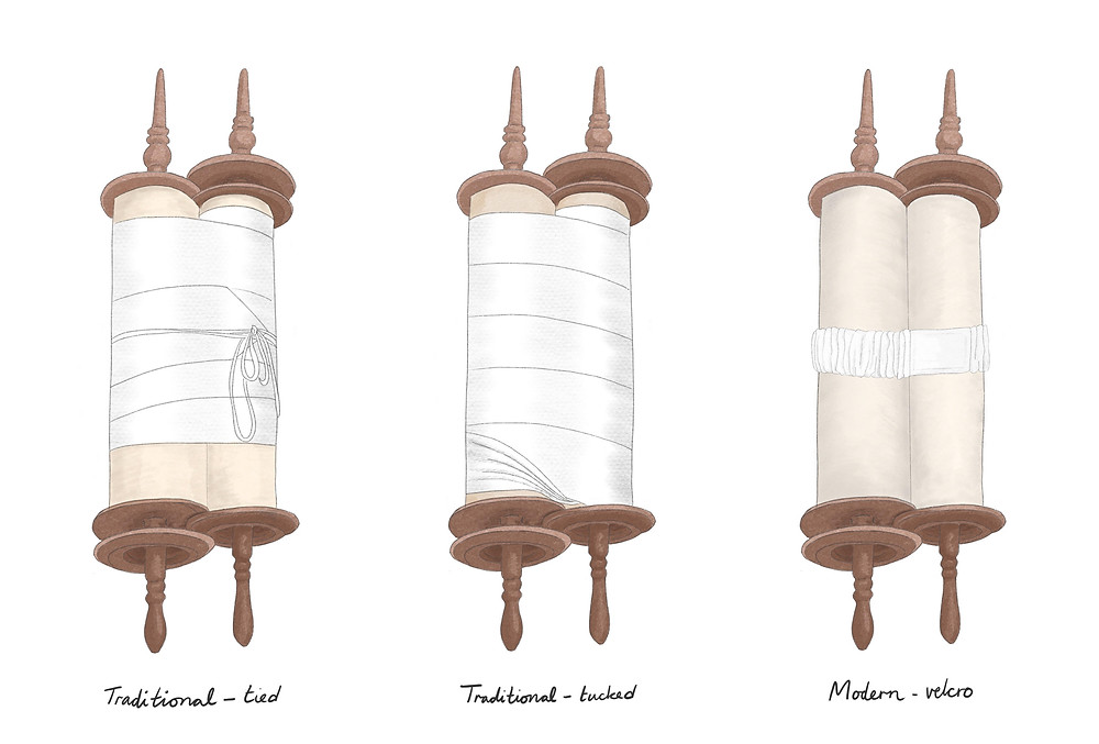 Three undressed Torah scrolls side by side, each with a different type of binder, to demonstrate the differences.