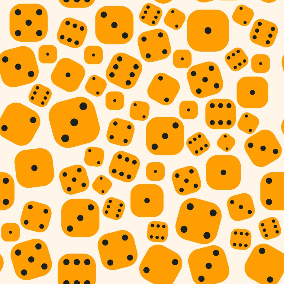 ilustração de vários dados amarelos