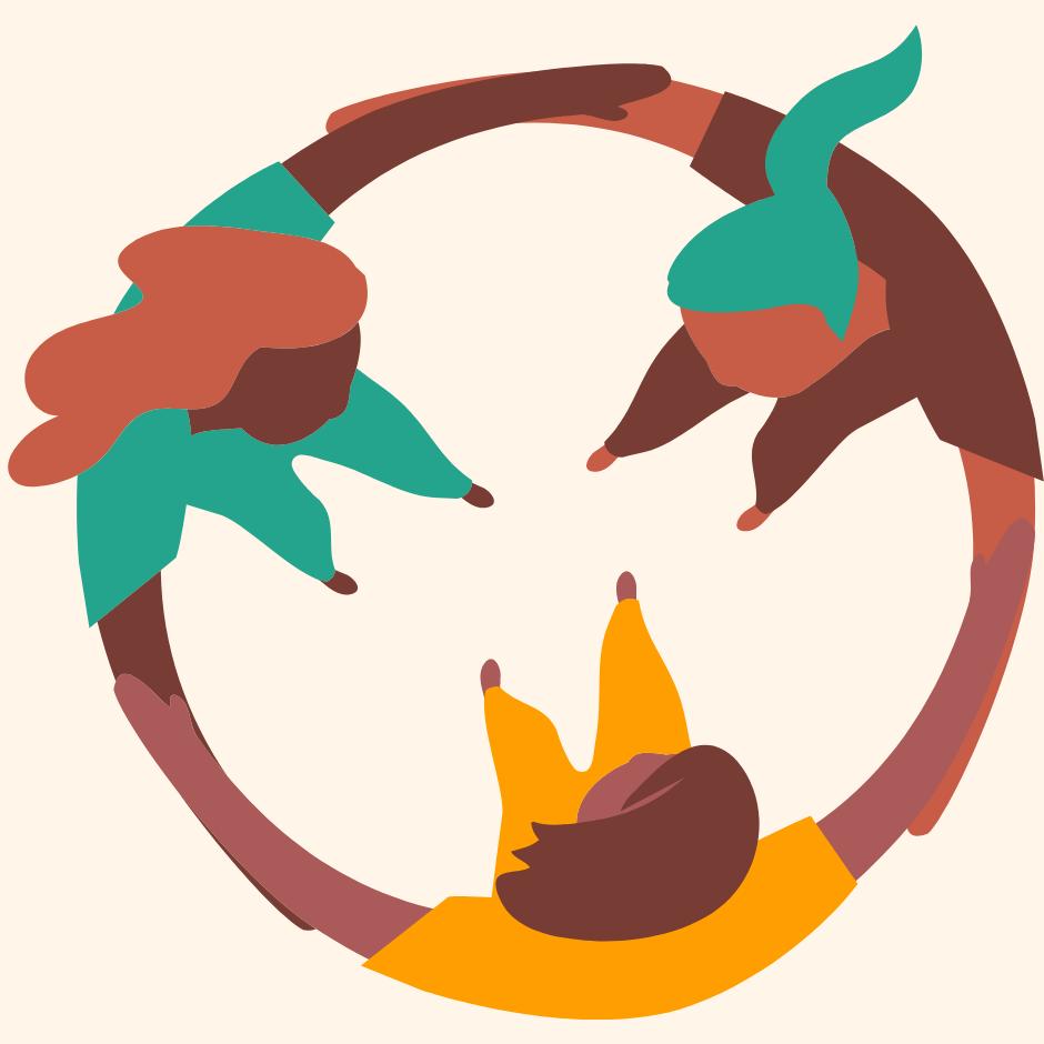 ilustração de roda de mulheres em união