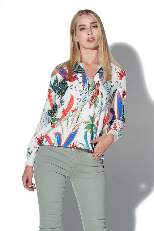 OO LA LA Lotus Floral Print Half-Zip Blouse