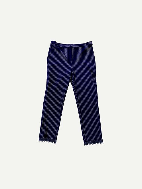 Spanner - Pin Stripe Lace Hem Pant