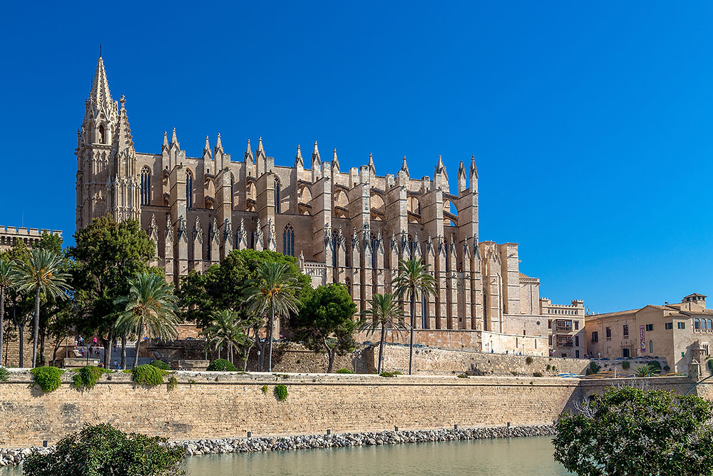 view of the cathedral of palma from the seaside