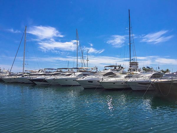Yachts mooring in port portals Majorca