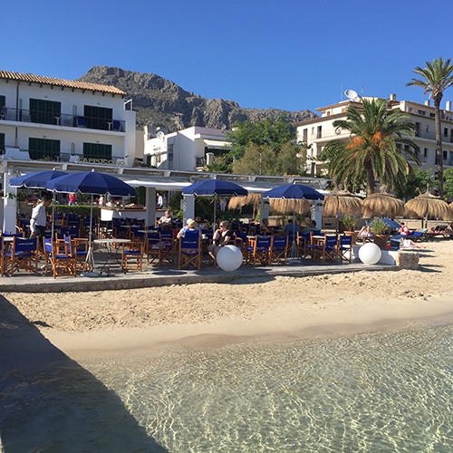 Cafe on the water in the beach of Pollensa