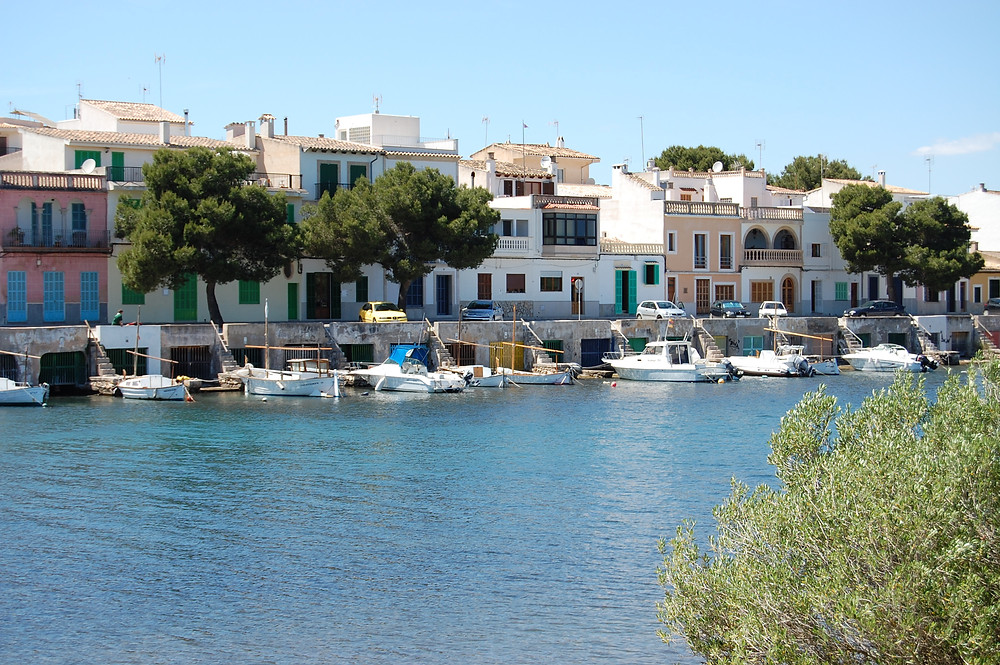 view from the water at portocolom majorca