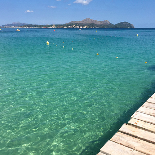 View from the pier of playa de muro Mallorca