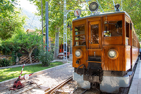 Vintage train in Mallorca liaising Soller and Palma