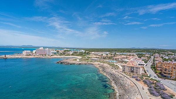 drone view of colonia de sant jordi majorca