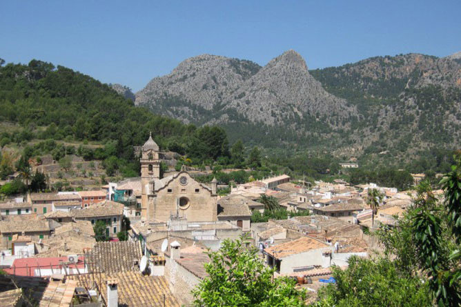 Bunyola in mallorca surrounded by mountains