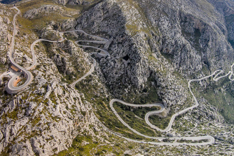 bird's eye view of bends on road of sa calobra mallorca