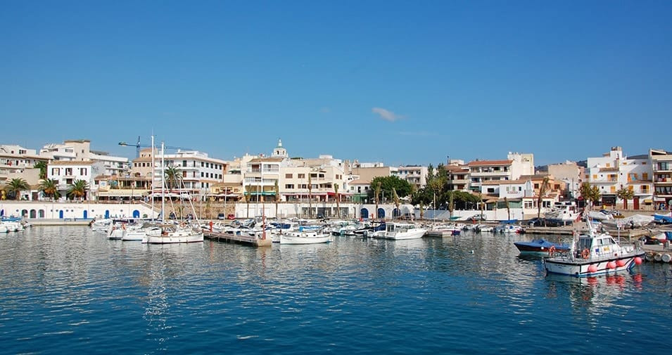 Cala Ratjada view of the marina with boats mallorca