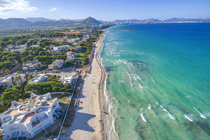 bird's eye view of playa de muro in mallorca