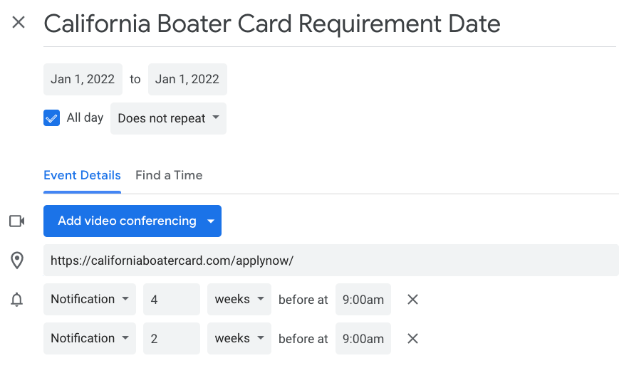 Add California Boater Card Requirement to Calendar