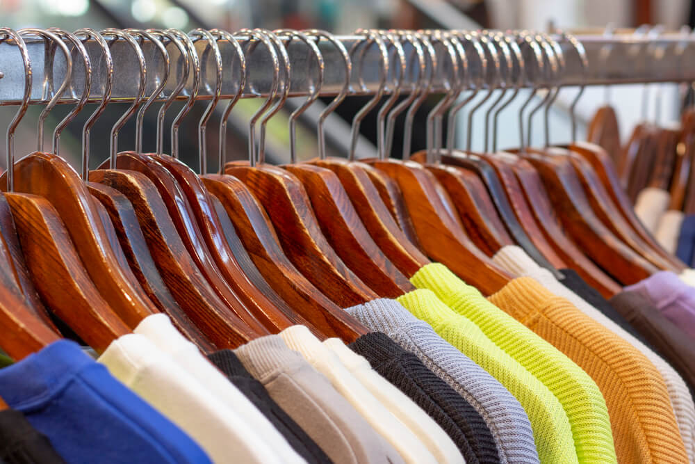 Clothes Stored on a Rack