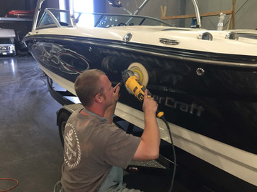 Buffing a boat