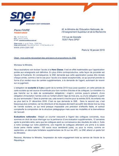 19-01-16 SNE lettre ministre HC 3 ans ev