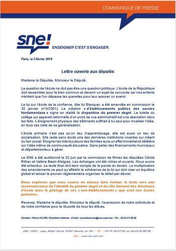 SNE_2019-02_lettre_deputés_loi_blanquer.