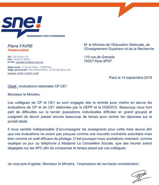 2018-09-14 SNE courrier ministre evaluat