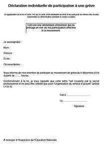 19-12-05 Declaration d'intention de grev