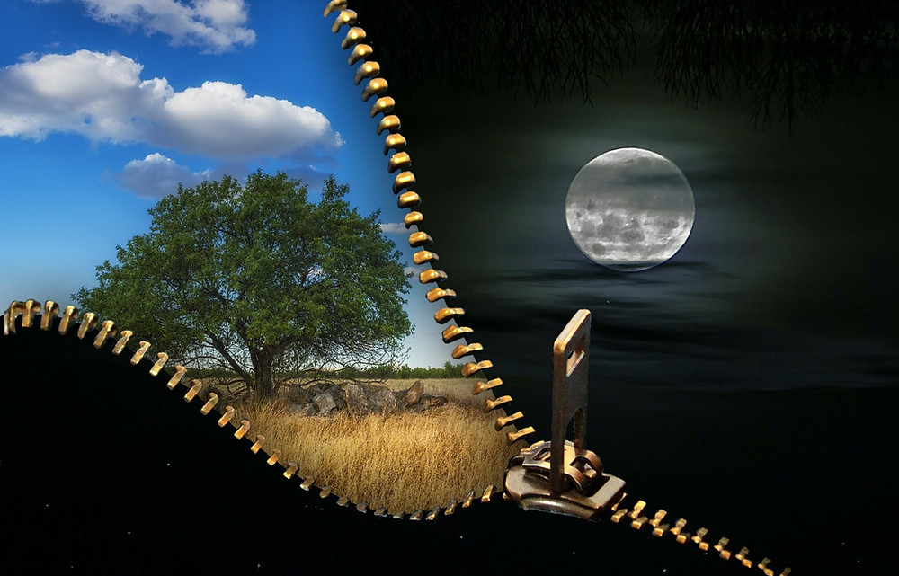 A zipper opening between a tree, blue sky and clouds in the daytime and a moon with clouds in the nighttime. Kristi Ryan Holistic Nutrition