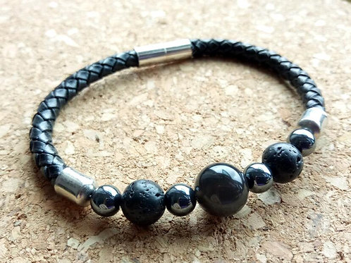 Obsidian Lava Leather Bracelet for Protection