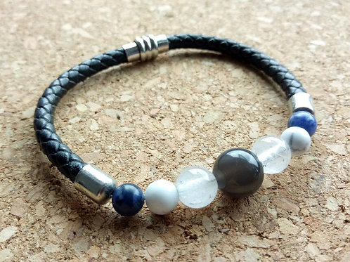 Obsidian Clear Quartz Leather Bracelet for Protection