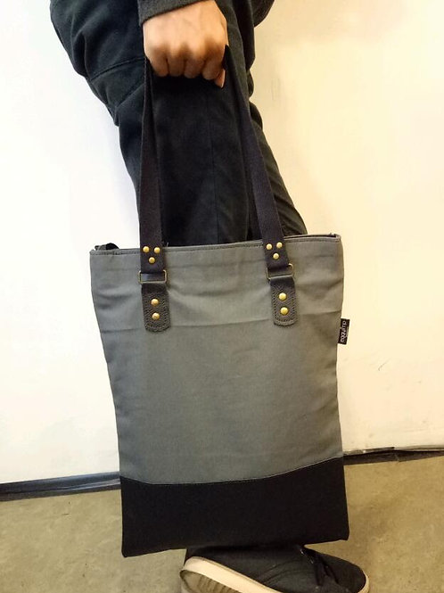 """RAINE"" CANVAS/DENIM & LEATHER TOTE BAG"