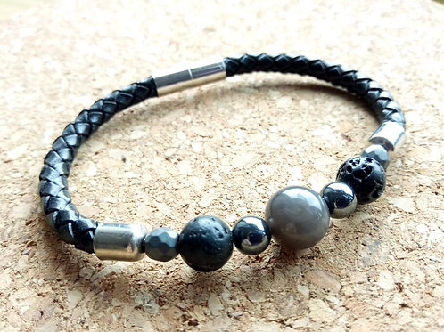 Black Obsidian Leather Bracelet for Protection