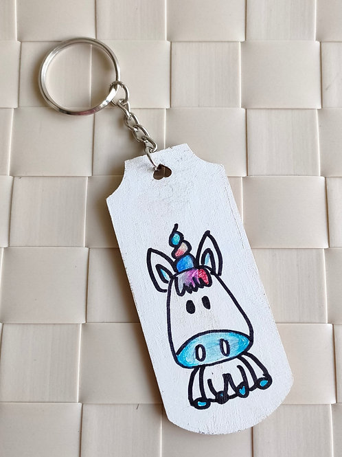 Unicorn Handdrawn Wooden Keychain