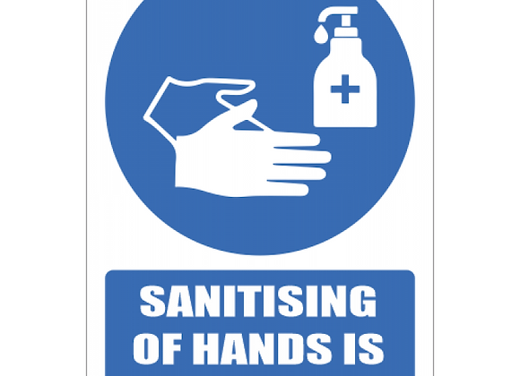SSE059 - Sanitising Of Hands Is Mandatory Sign