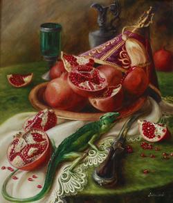 Pomegranates with lizard