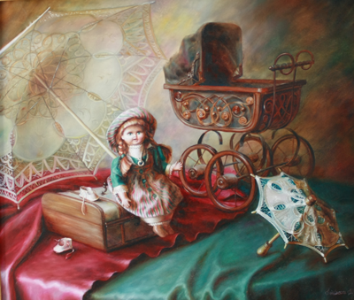 Doll with umbrellas