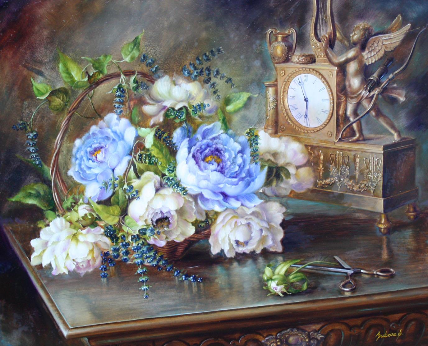 Clock & Flowers