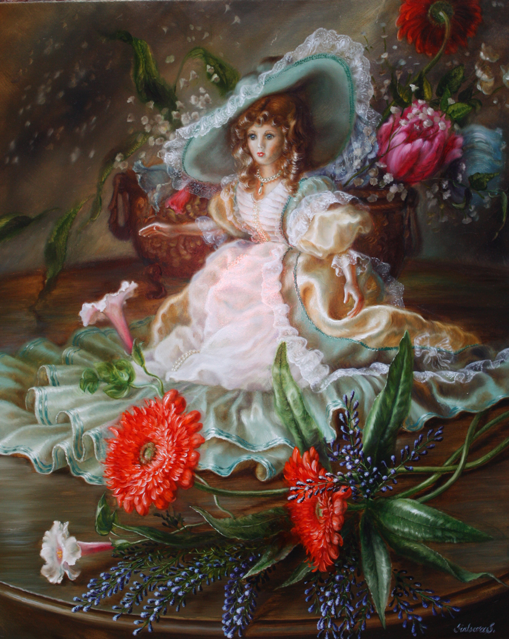 Doll with flowers