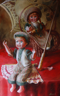 Two dolls with umbrella
