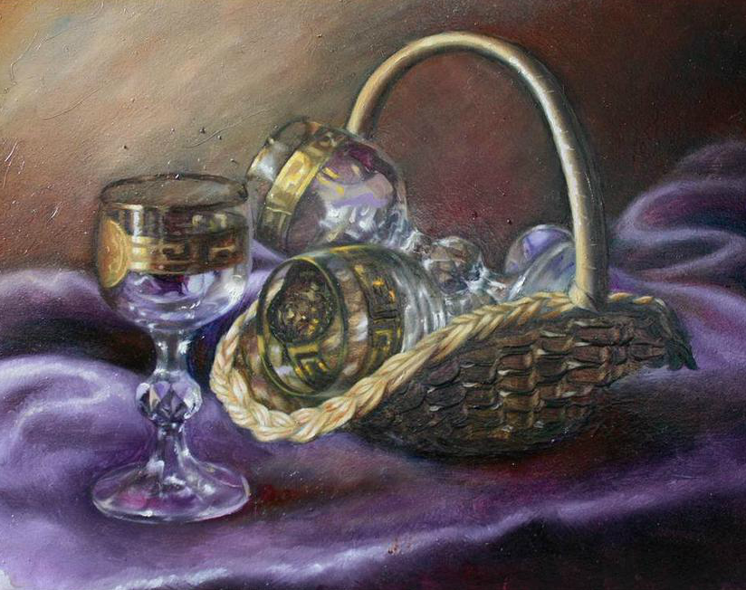 Basket with wine glasses