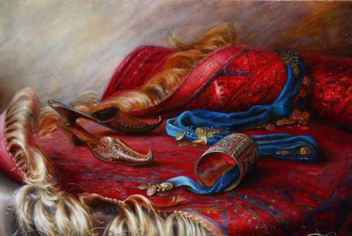 Oriental still life with slippers