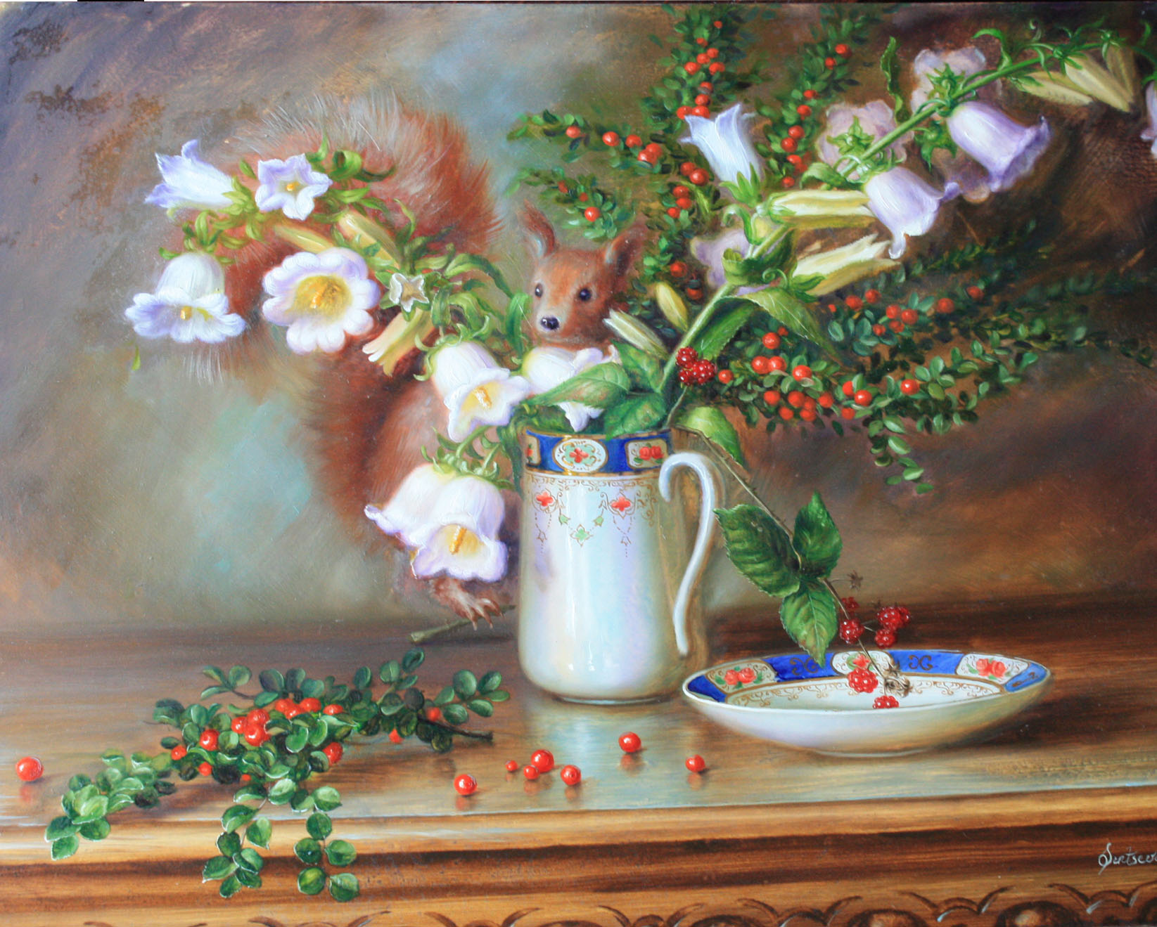 Squirell with white flowers
