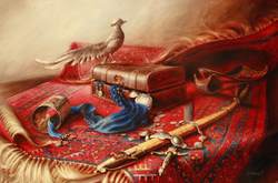 Still life with carpet and sword