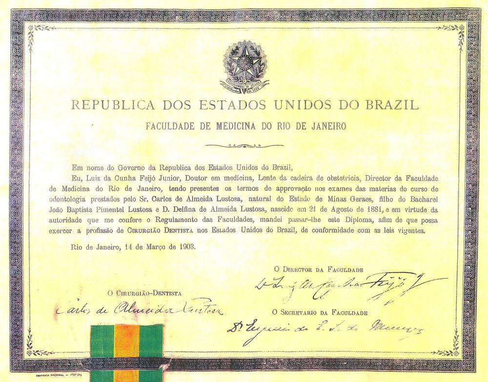 diploma Dr Carlos Lustosa