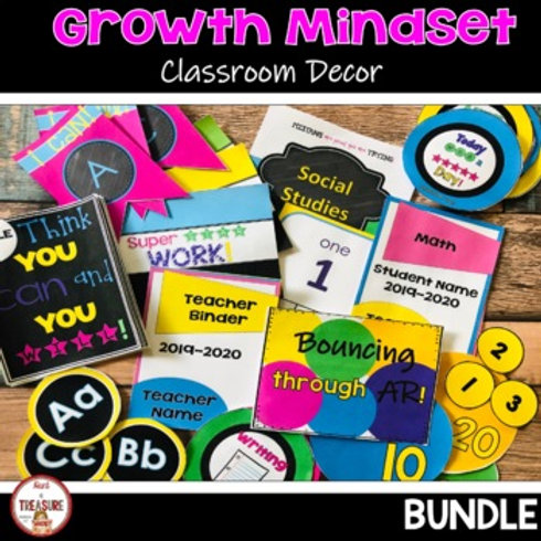 Growth Mindset Classroom Decor with bright and Bold Colors
