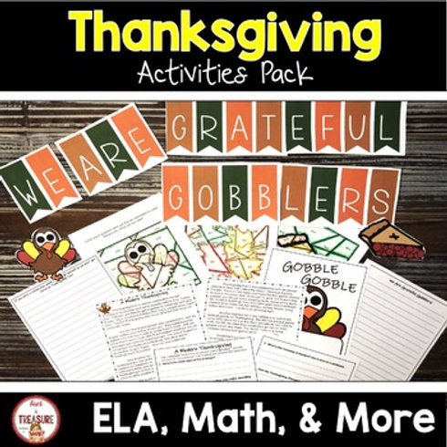 Thanksgiving Reading and Math Activities for 3rd, 4th, and 5th Grade