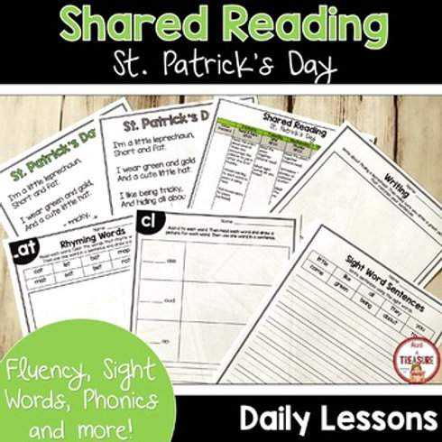 St. Patrick's Day Shared Reading Poem and Phonics Activities for Kindergarten