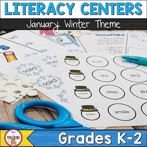 January Literacy Center Activities for Kindergarten, 1st Grade, and 2nd Grade Word Work