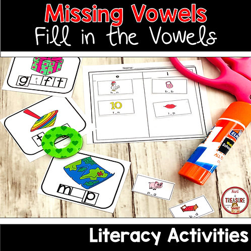 Try out these missing vowel task cards and activities for literacy and word work practice.