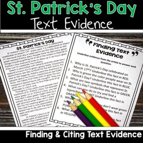 St. Patrick's Day Reading Passage for Citing and Finding Text Evidence 3rd, 4th, and 5th Grade. FSA Writing