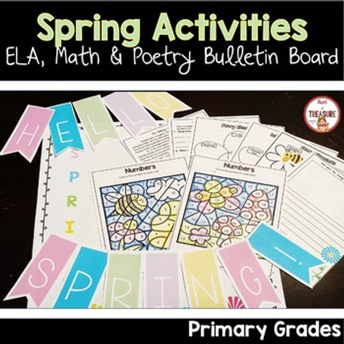 Spring Math and Reading Activities for Kindergarten, 1st Grade, and 2nd Grade