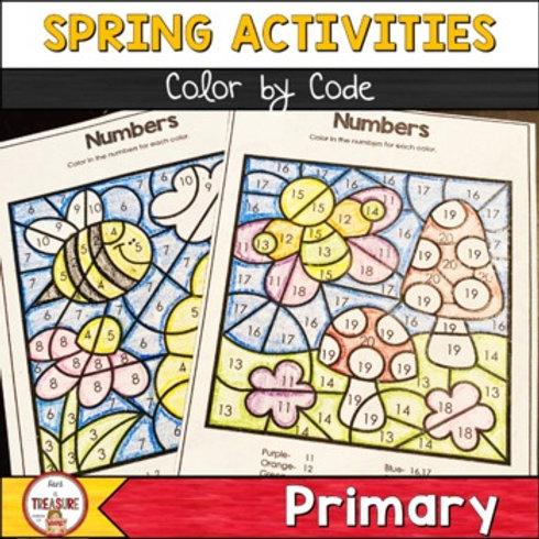 Spring Color By Code Activities for Kindergarten and 1st Grade