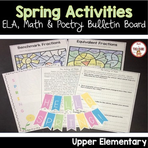 Spring Reading and Math Activities for 3rd, 4th and 5th Grade