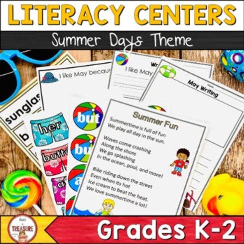 Summer Themed Literacy center Activities for Kindergarten, 1st, and 2nd Grade